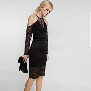 Express lace and velvet cold shoulder party dress